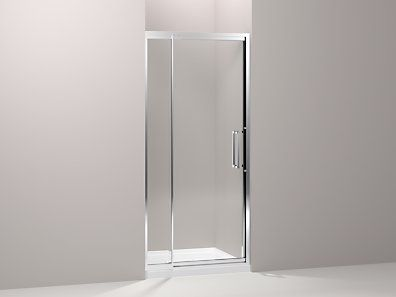 Kohler K 705802 L Sh Lattis Pivot Shower Door 76 H X 33 36 W With 1 4 Thick Crystal Clear Glas Shower Doors Contemporary Shower Doors Bathtub Doors