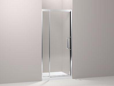 Kohler K 705802 L Sh Lattis Pivot Shower Door 76 H X 33 36 W With 1 4 Thick Crystal Clear Glas Shower Doors Contemporary Shower Doors Bathtub Doors