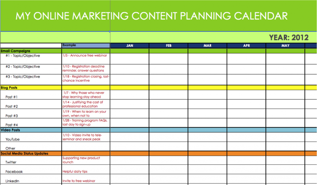 Online marketing calendar planner | Useful Online Tools ...