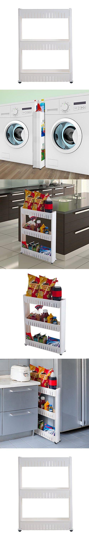 Mobile Shelving Unit Organizer With 3 Large Storage Baskets, Slim Slide Out  Pantry Storage Rack