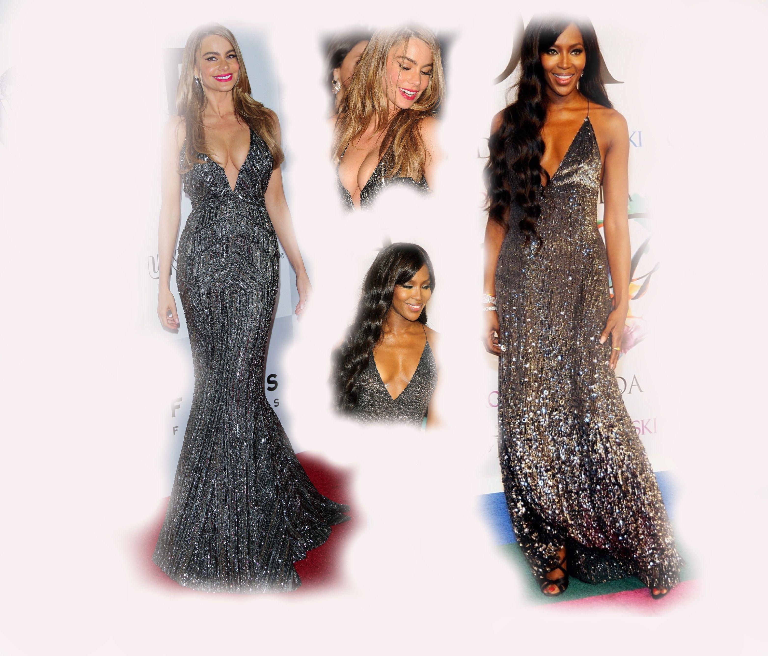 shiny grey long dress, Sofia Vergara VS Naomi Campbell fashion diva who-wore-it-better celeb celebrity