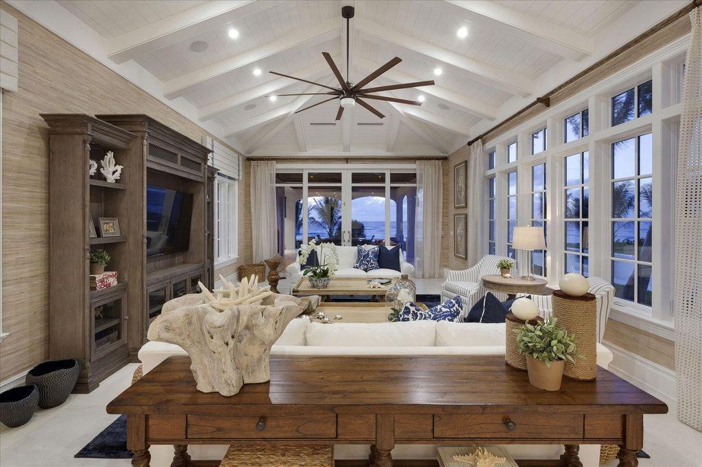 Cottage Living Room with Carpet, Restoration Hardware ...