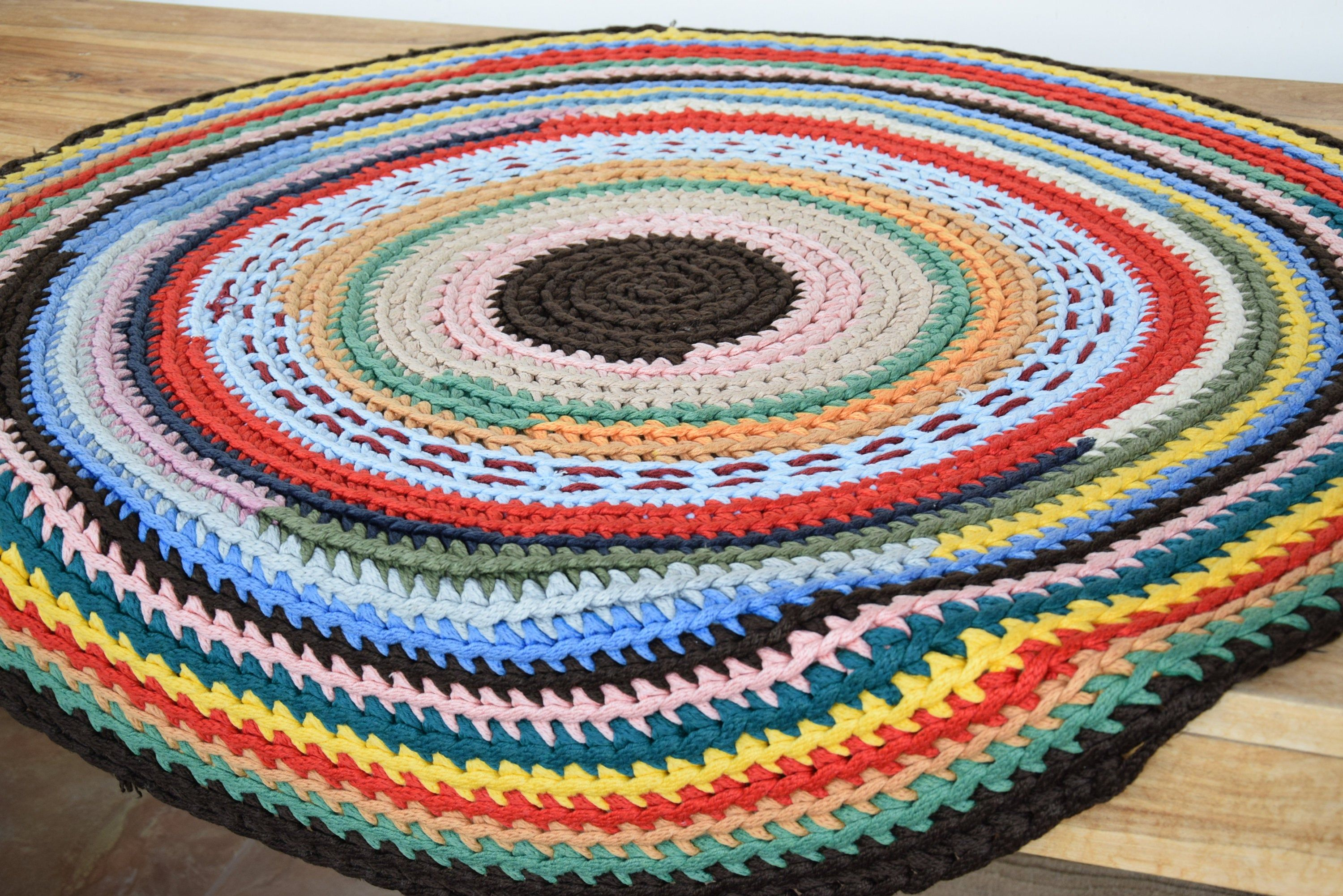 Crocheted Rug Multicolor Vibrant Colors Rug Bohemian Carpet Etsy Bohemian Carpets Crochet Rug Colorful Rugs