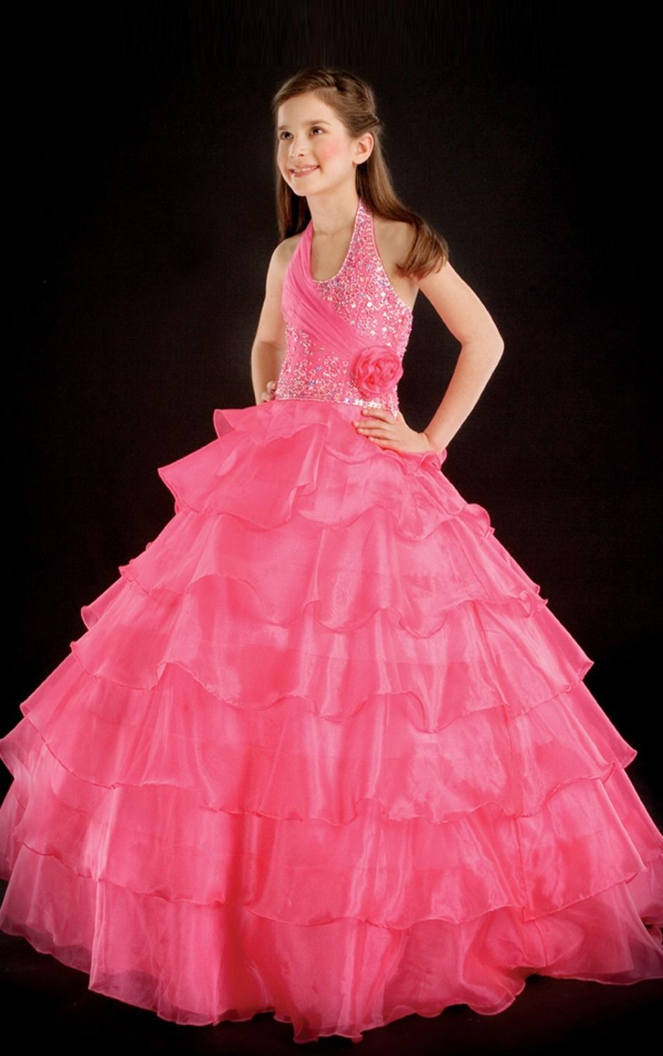Click to buy ucuc pink flower girls pageant dresses ball gown