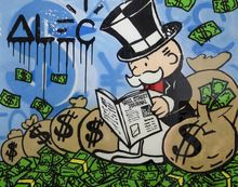Best s Alec monopoly Graffiti art paint on canvas for wall picture decoration oil painting in living room(China (Mainland))