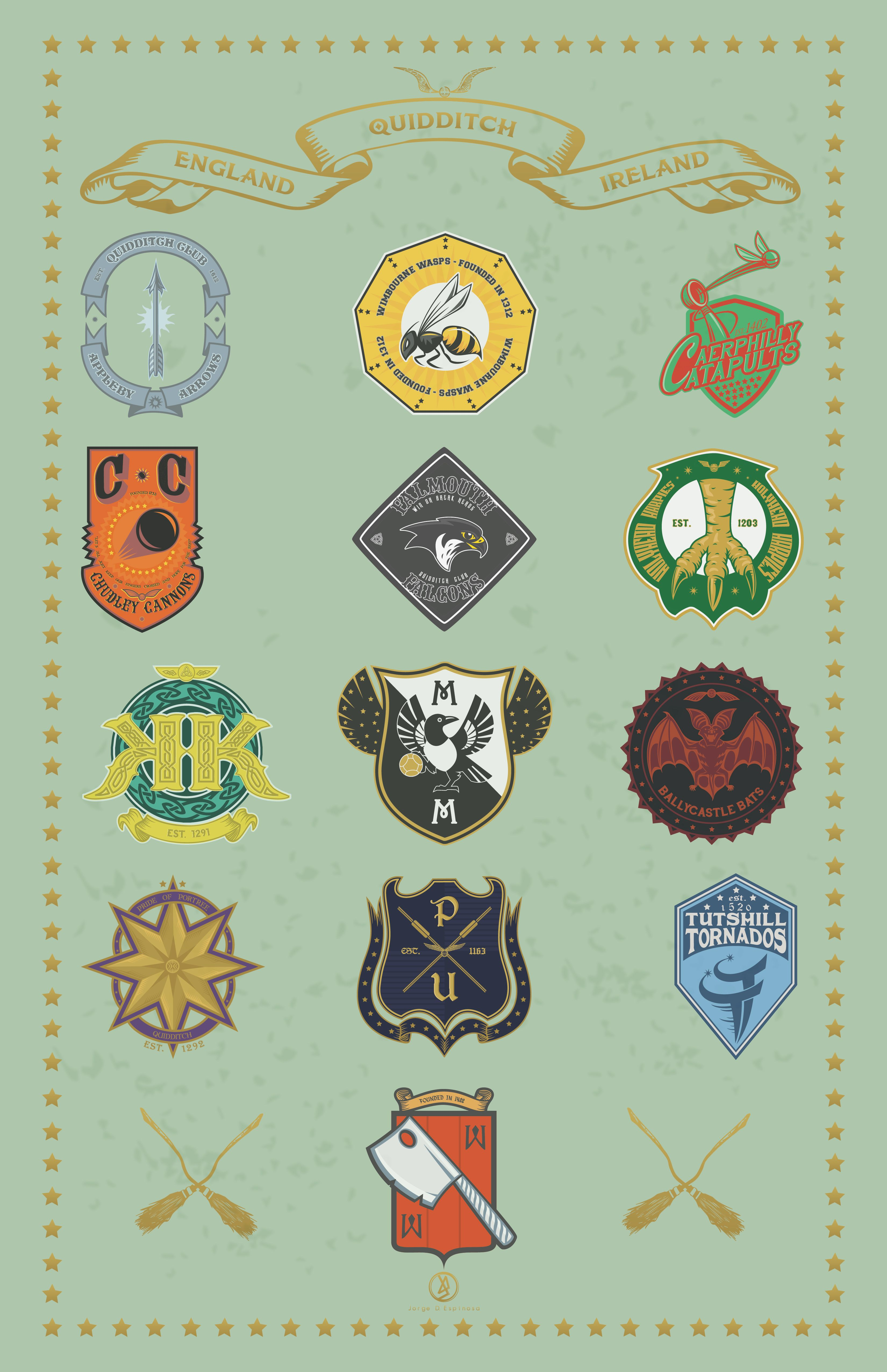 Harry Potter Quidditch Teams Logos Wizard World By Jorge D Espinosa Harry Potter Logo Harry Potter Day Harry Potter Christmas Decorations