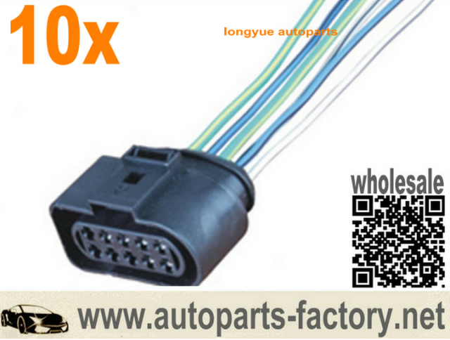 Long Yue 10 Pin 6 Wire 1j0 973 735 Vw Connector Wiring Harness 1j0973735 8 Wire Connector Harness