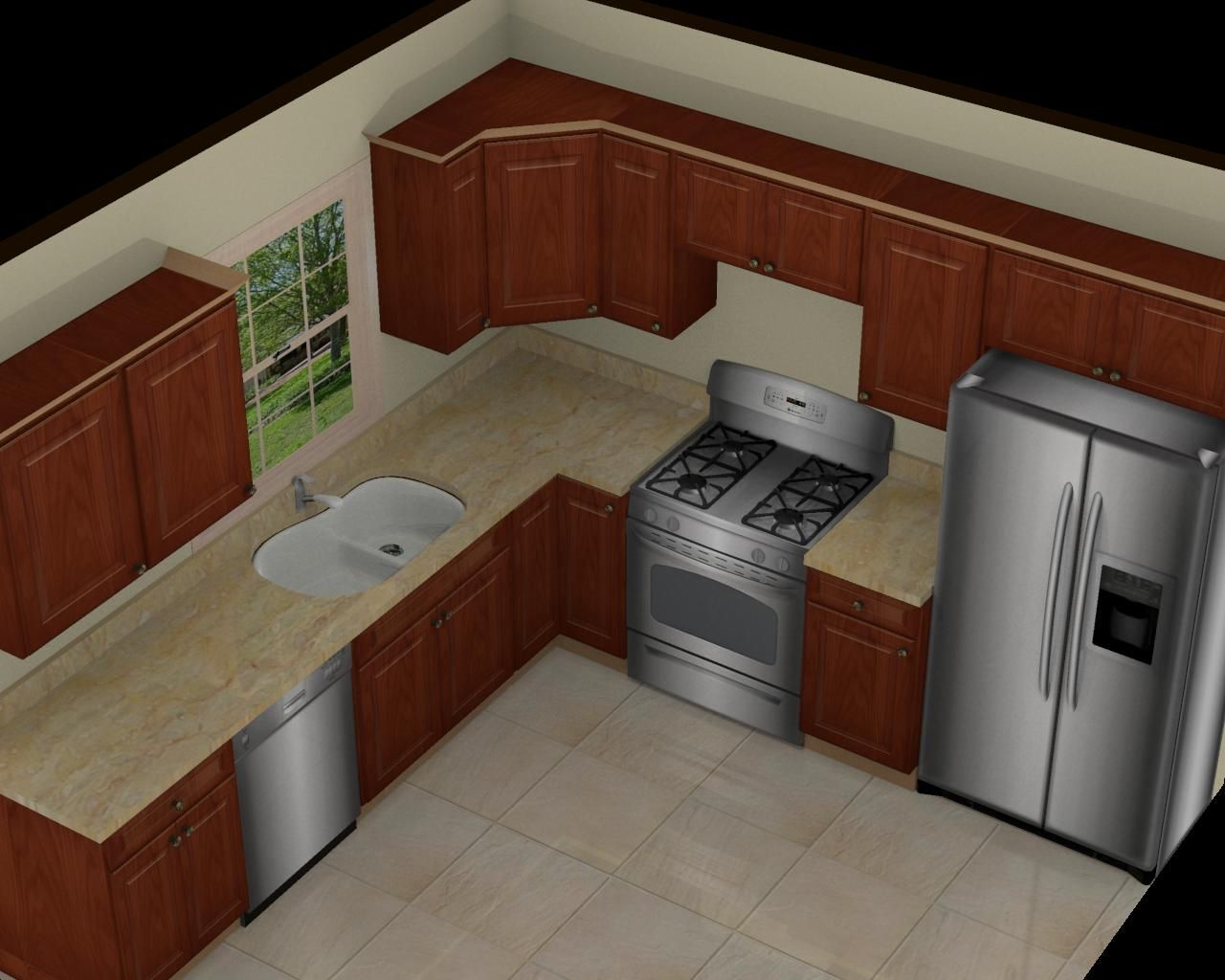 Kitchen great 10x10 3d kitchen design with brown cabinet for Small kitchen floor ideas
