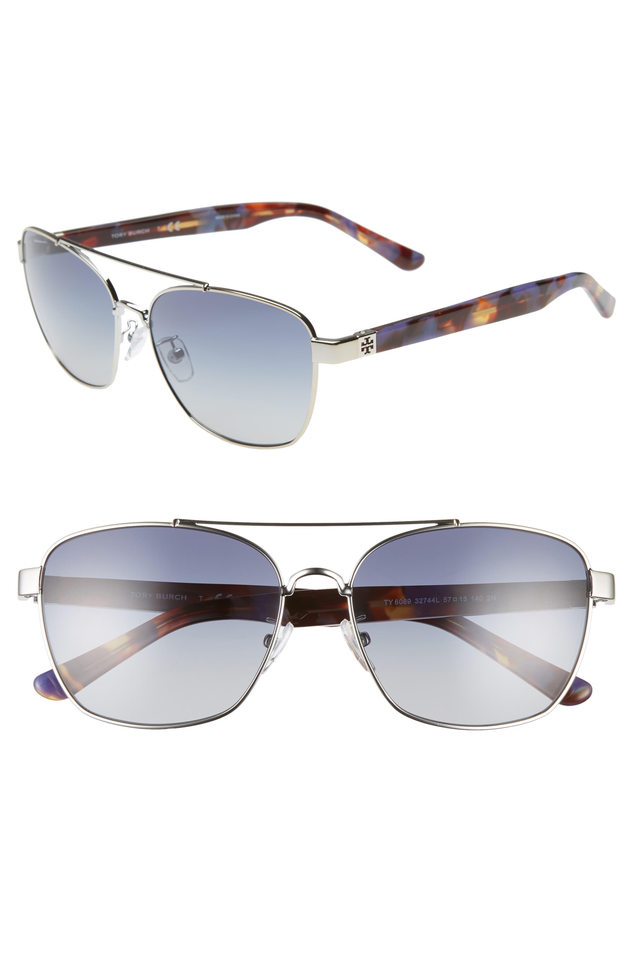827d20083e3b Women's Tory Burch 57Mm Gradient Navigator Sunglasses - Silver/ Purple/  Blue Gradient