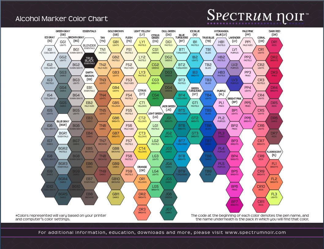 What Colors Are Available In Spectrum Noir Inks Spectrum Noir Markers Coloring Noir Color Alcohol Markers