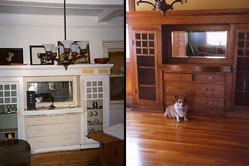 Before After Photos Of Our Bungalow Dining Room We Stripped Off Layers Lead Paint To Reveal Beautiful Douglas Fir Woodwork Which Stained