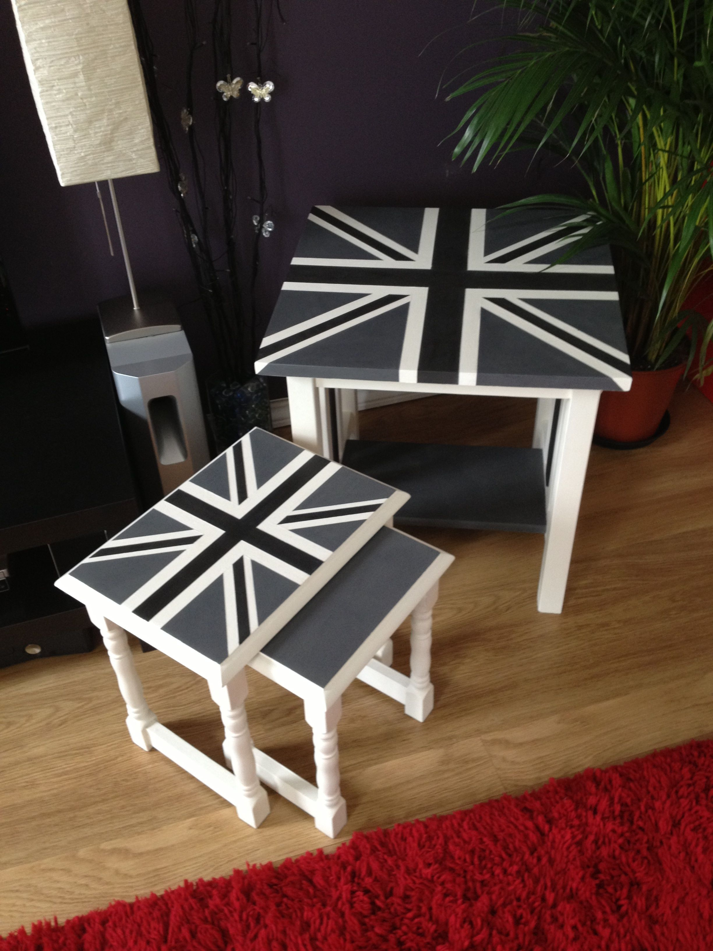 Black white grey Union Jack tables by A Lick of Magic Annie Sloan CP Graphite, Original and custom mixed Grey