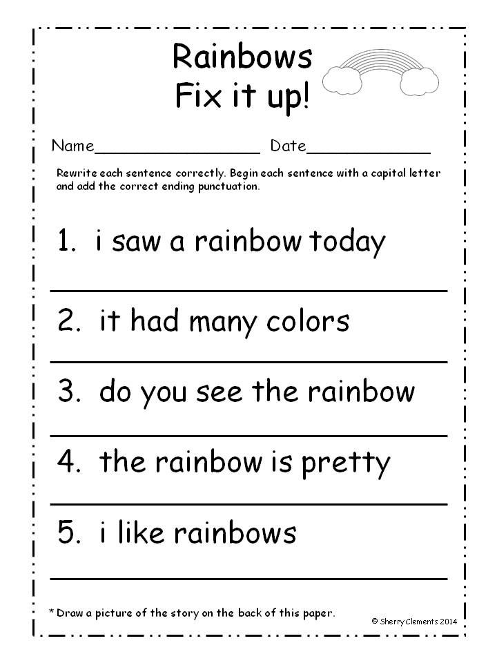 Capital Letter Beginning Sentence.March Fix It Up Sentences Capital Letters And Ending