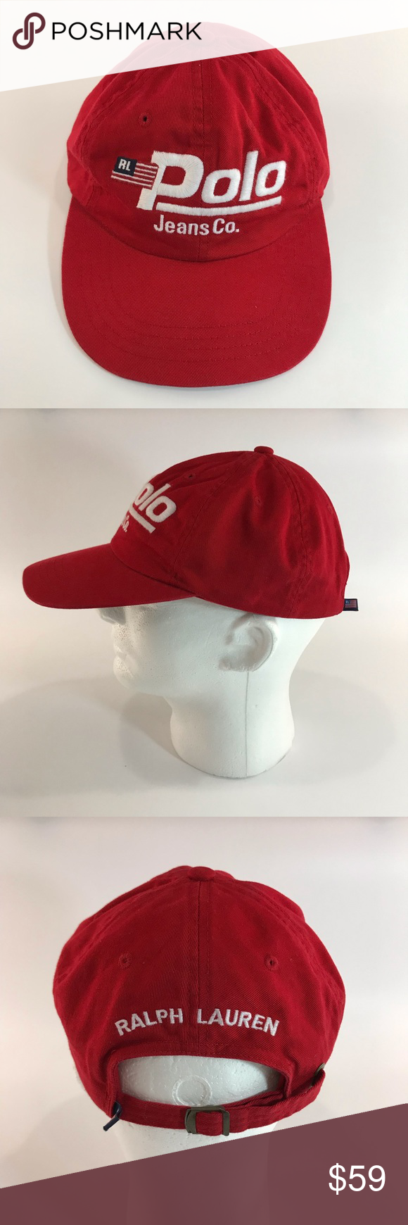 99e02318 Vtg Ralph Lauren Polo Jeans Co Hat DESCRIPTION: Vintage RL Polo Jeans Co Hat  DESIGNER: Ralph Lauren COLOR: red/white CONDITION: excellent preowned SIZE:  ...