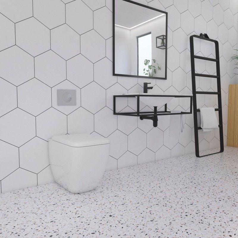 Large White Hexagon Floor Tiles Bathroom Feels Free To Follow Us In 2020 Tile Bathroom Bathroom Wall Tile Beautiful Bathroom Decor