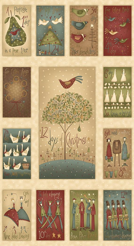 12 Days Of Christmas Cotton Fabric Panel Henry By Countrystittches 9 49 Christmas Quilts Christmas Fabric Panels Christmas Fabric