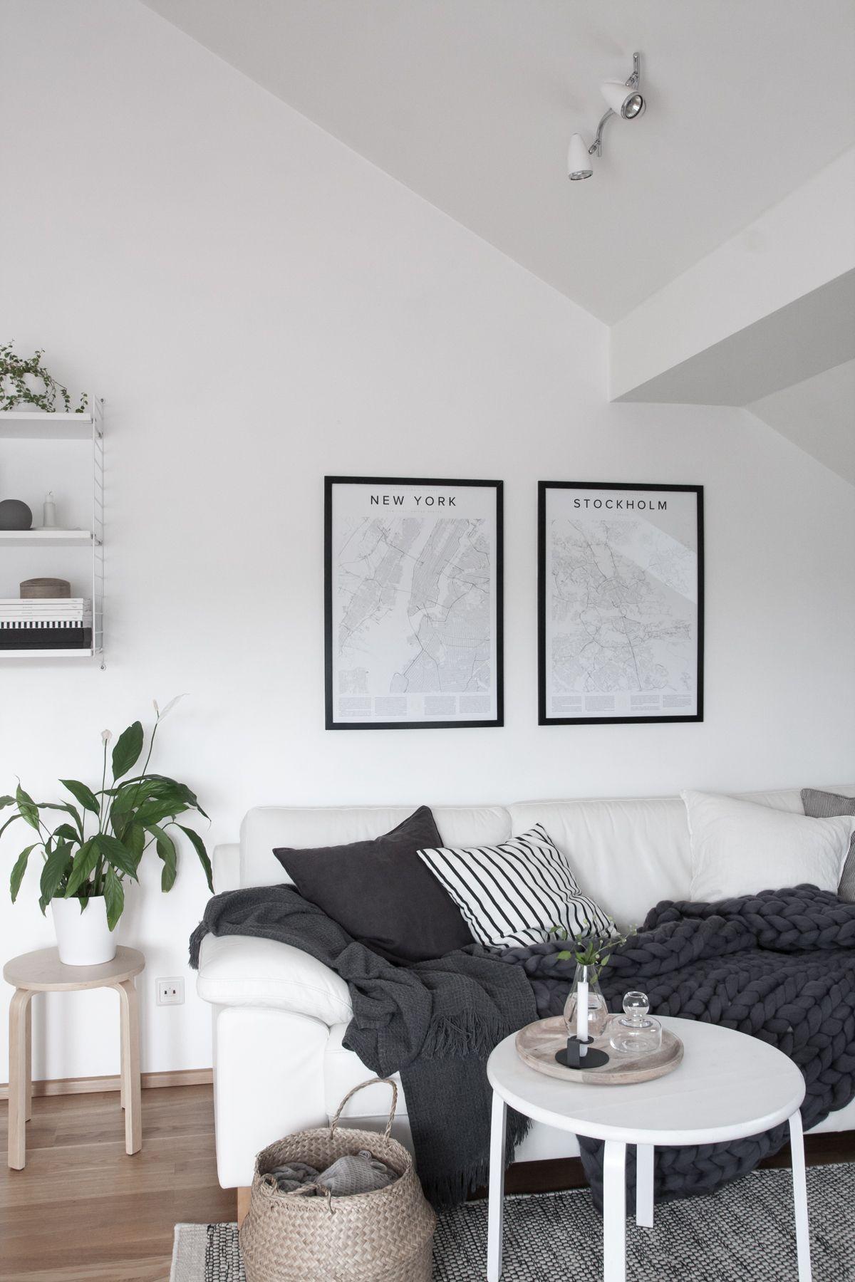 Monochrome and cozy nordic living room. Encyclopaedia Urbana posters ...