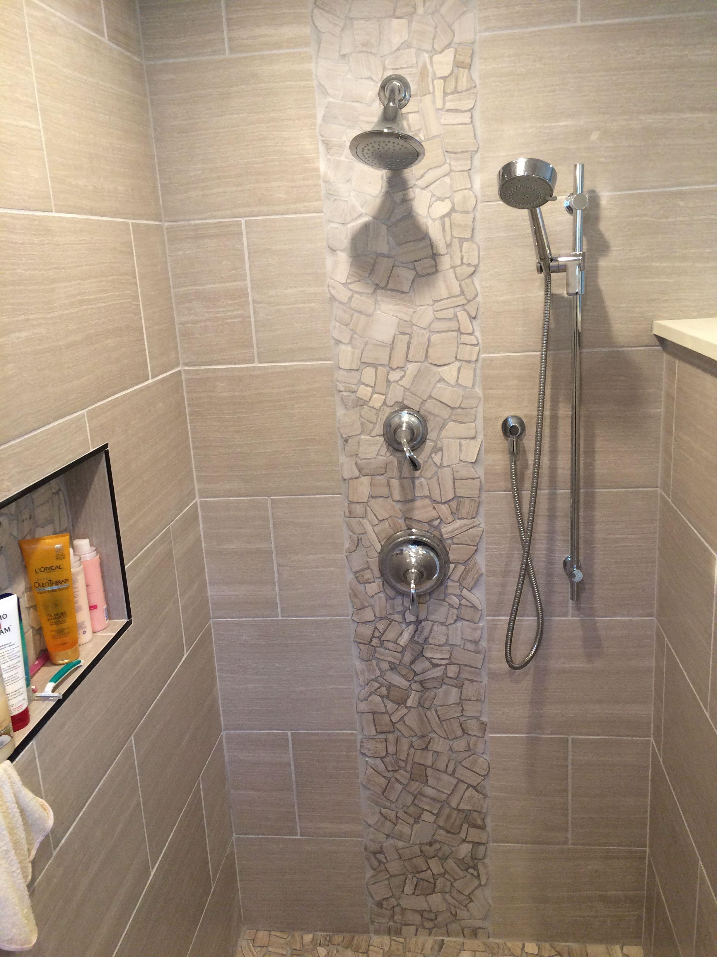 Master walkin shower male kopalnice master bathroom - Bathroom accent tile design ideas ...