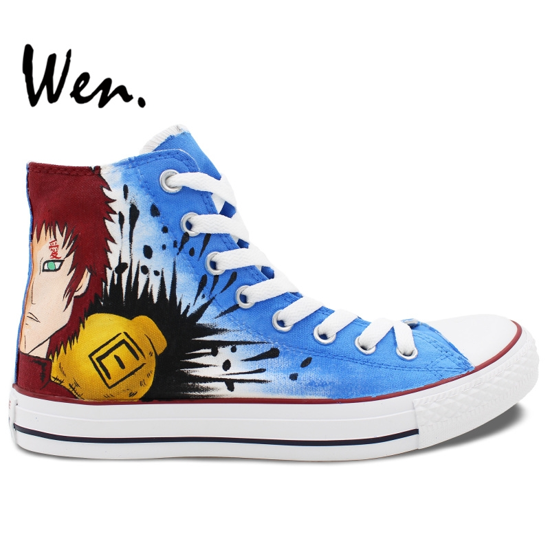 61.64$  Buy here - http://ali0cc.worldwells.pw/go.php?t=32662467512 - Wen Hand Painted Shoes Design Custom Anime Gaara Naruto Blue High Top Canvas Sneakers for Men Women's Birthday Gifts 61.64$