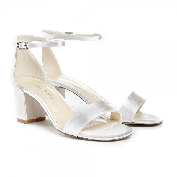 Pink Paradox Mahlia Ivory Satin Low Block Heel Wedding