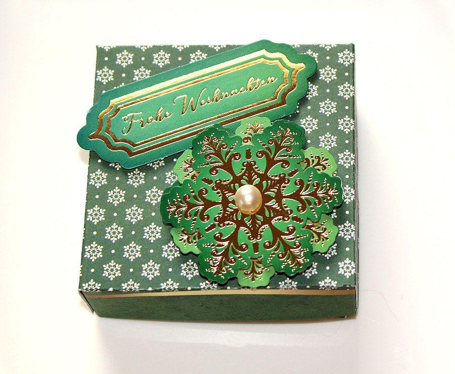 Geschenkkarton Weihnachten.Weihnachten Geschenkschachtel Mit Deckel Grün Handgefertigt