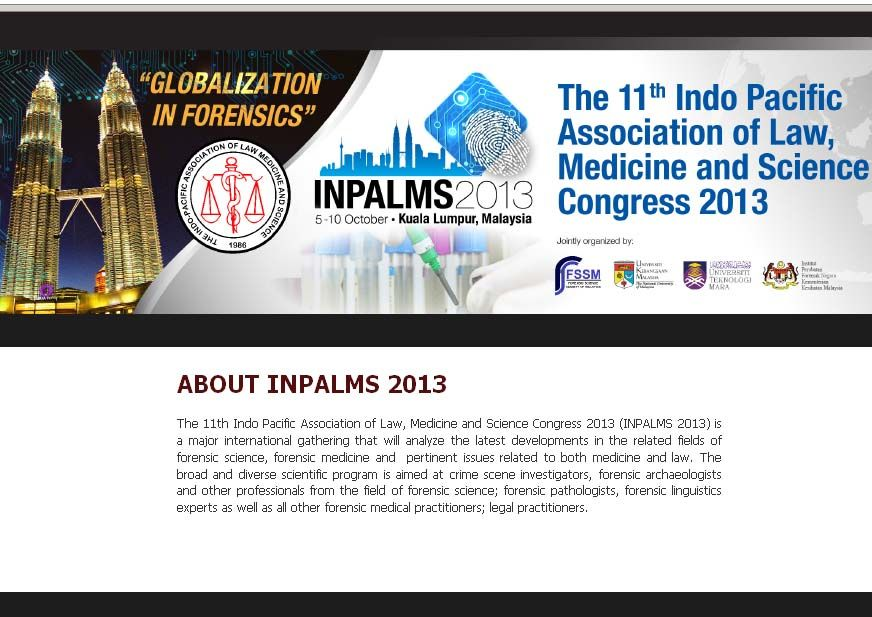 11th Indo Pacific Association of Law, Medicine and Science Congress 2013 (INPALMS 2013) | MediSitu.Com