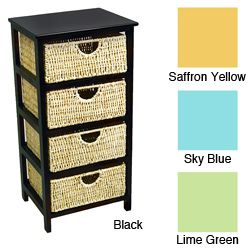 4 Drawer Compact Wicker Basket Storage Shelf (Saffron Yellow ...