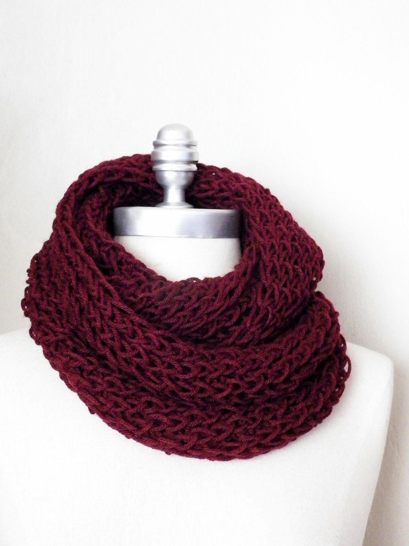 Wine Red Infinity Scarf, Dark Red, Burgandy, Maroon, Knit Scarf ...