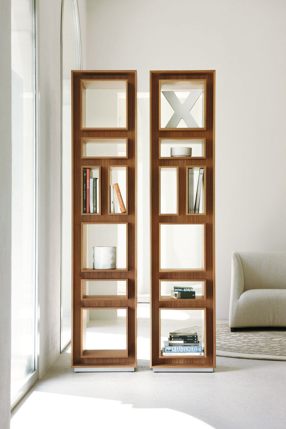 Beautiful Fancy Bookcase In Canaletto Walnut   Is A Contemporary Tall Bookcase In  Solid Canaletto Walnut With A Chrome Base.