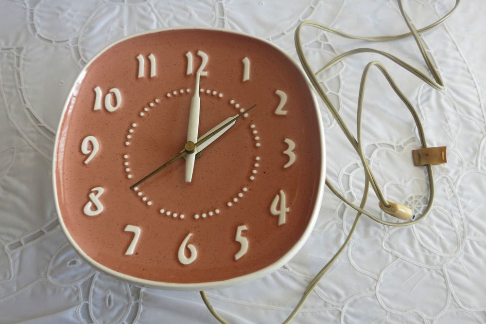 Russel Wright Coral Ceramic Ge Wall Clock Mid Century Eames Era Danish Modern Collectible Clock Wall Clock Danish Modern