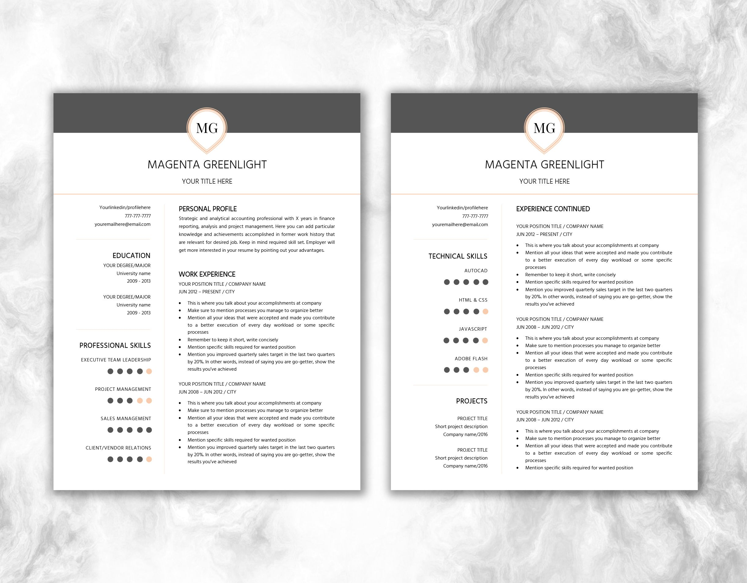 one page resume two page resume cover letter design monogram one page resume two page resume