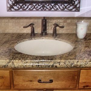 Black Granite Brown Wooden Vanity Counter Top Mixed White Trough Throughout Measurements 1600 X 1200 Prefab Bathroom Tops A Is On