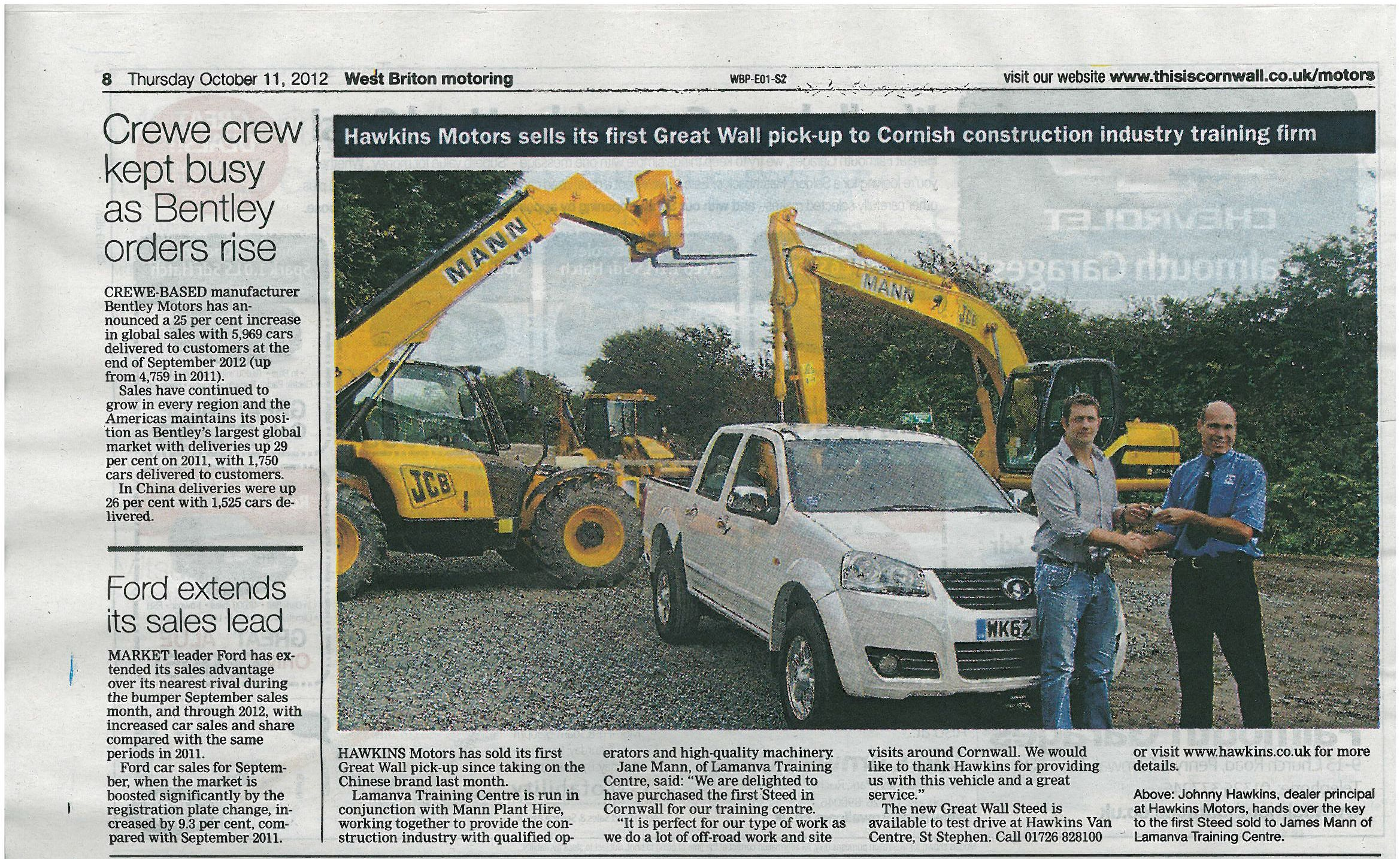 Great Wall Steed sold to Mann Plant Hire   Press Release