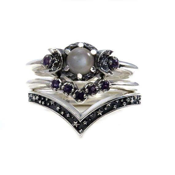 Triple Moon Engagement Ring Set with Grey Moonstone and Amethyst