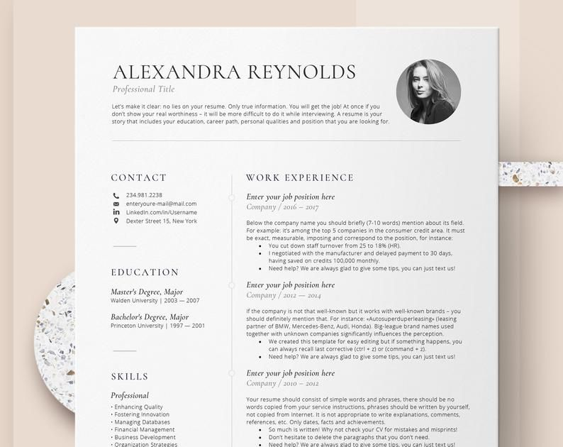 Resume Template for Mac CV template with photo
