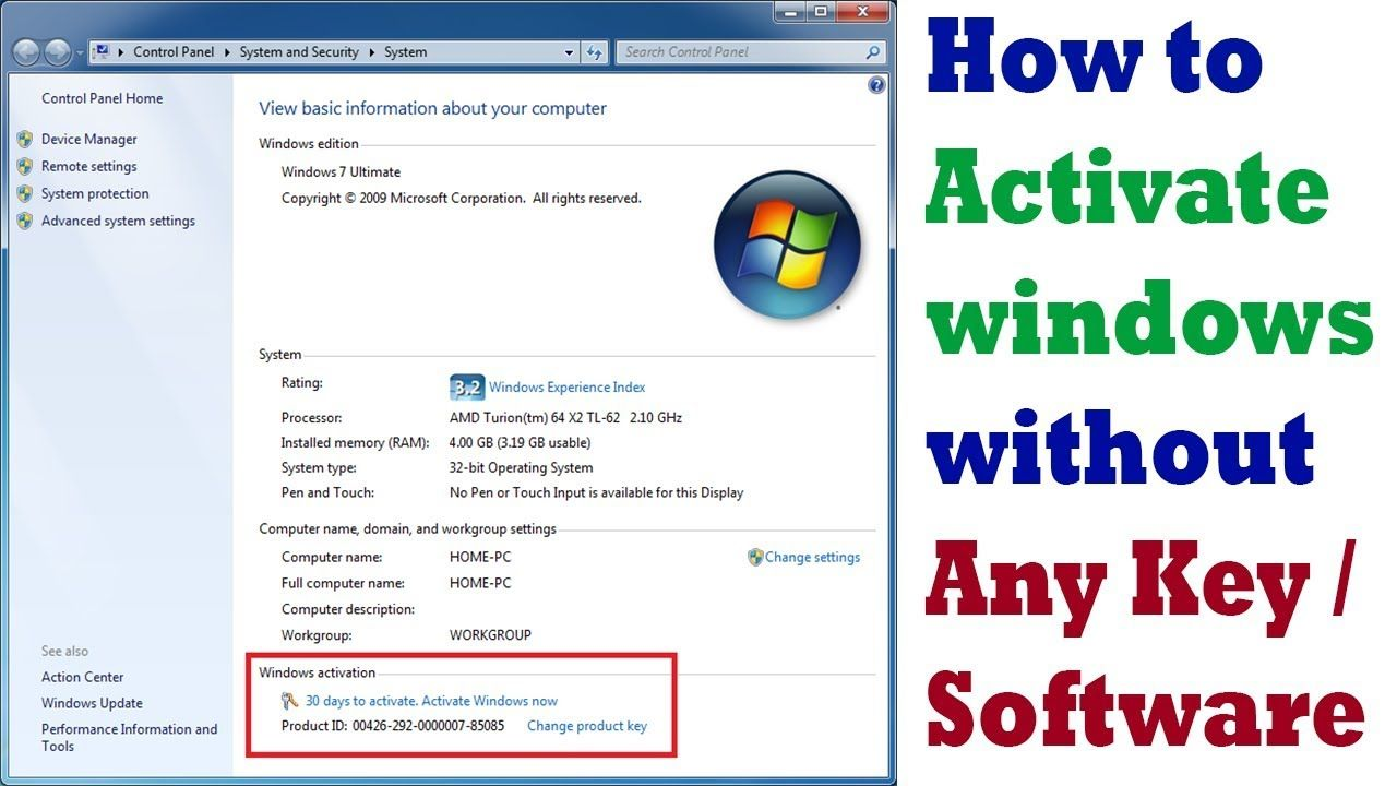 how to activate windows 10 / 8 / 7 without any key