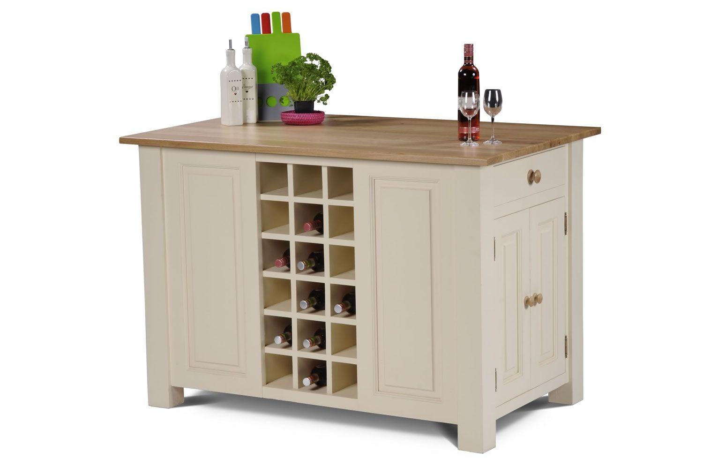 Mottisfont Painted Kitchen Island Unit Cream Pine Wooden