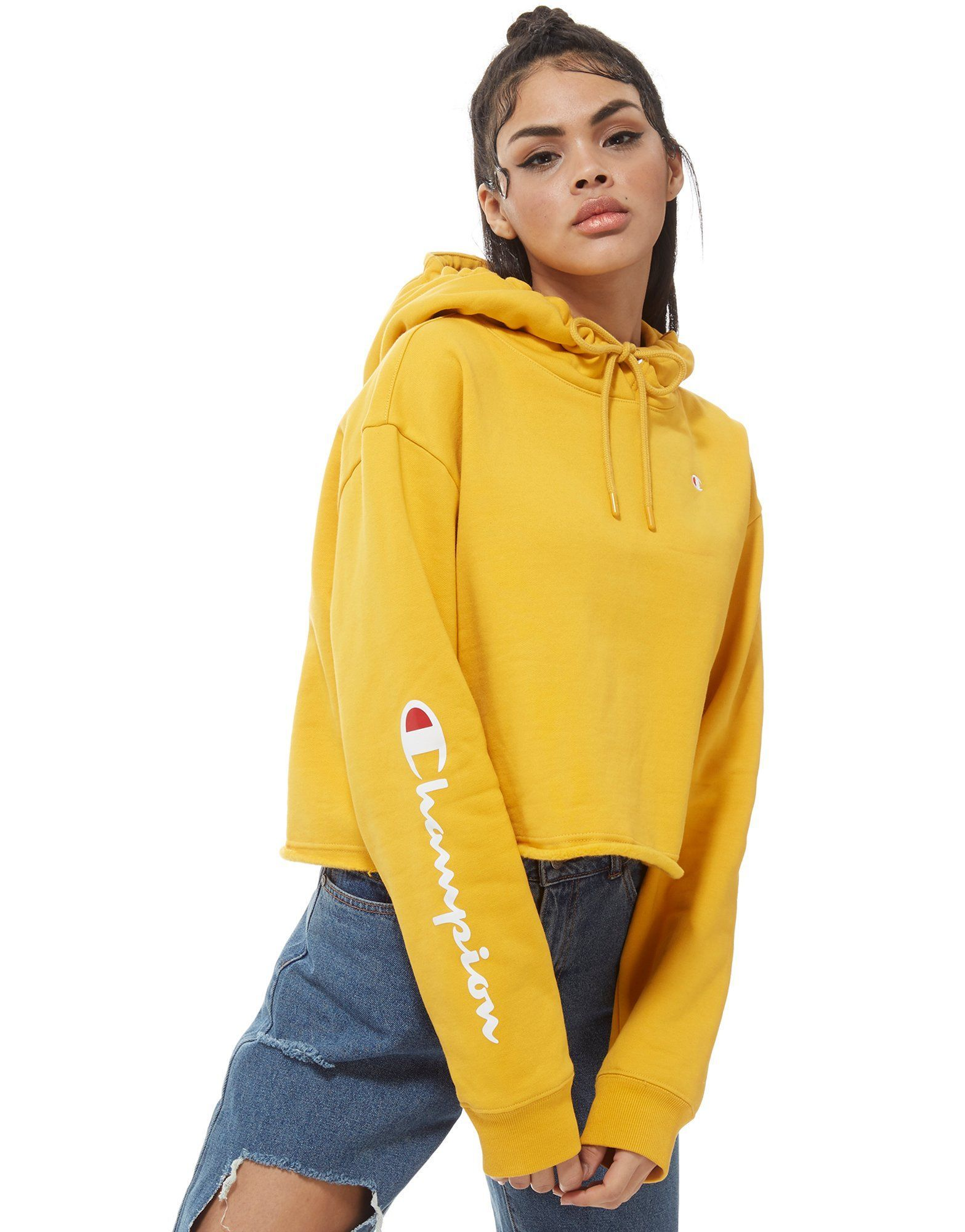 Champion Logo Sleeve Crop Hoodie Shop Online For Champion Logo Sleeve Crop Hoodie With Jd Sports The Champion Clothing Cropped Hoodie Yellow Champion Hoodie [ 2000 x 1567 Pixel ]