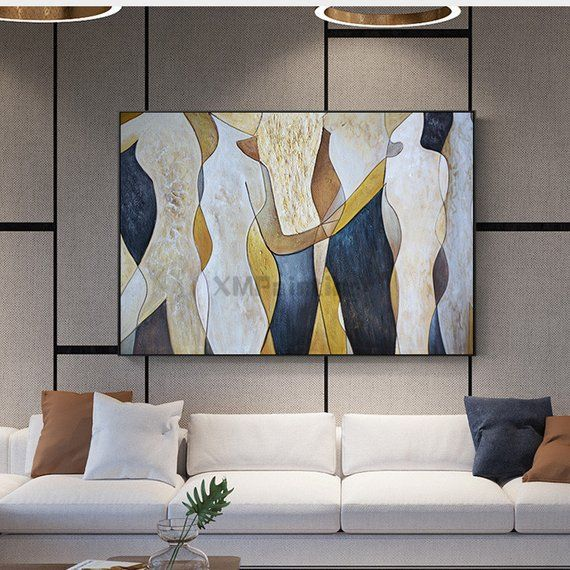 Gold art landscape Abstract paintings on canvas wall art ...