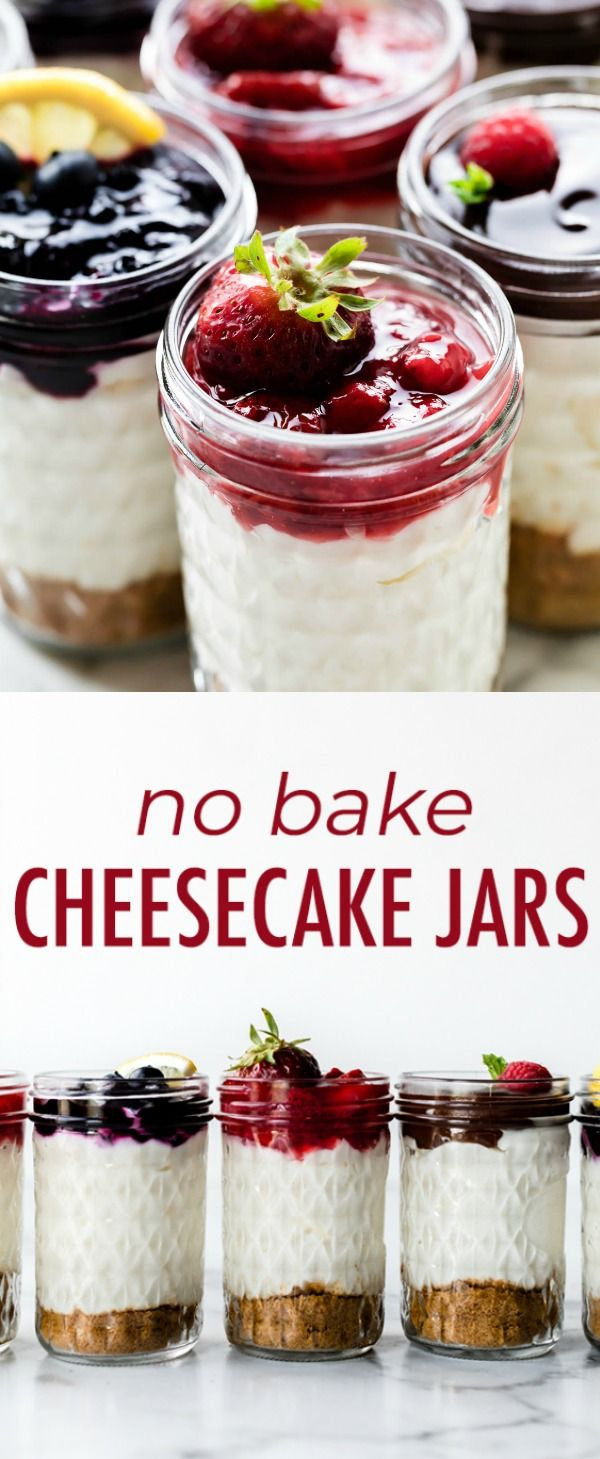 How to make easy creamy no bake cheesecakes in a jar! These individual dessert jars combine cheesecake filling, graham cracker crust, and strawberry sauce topping! No bake recipe on sallysbakingaddiction.com #cheesecakes
