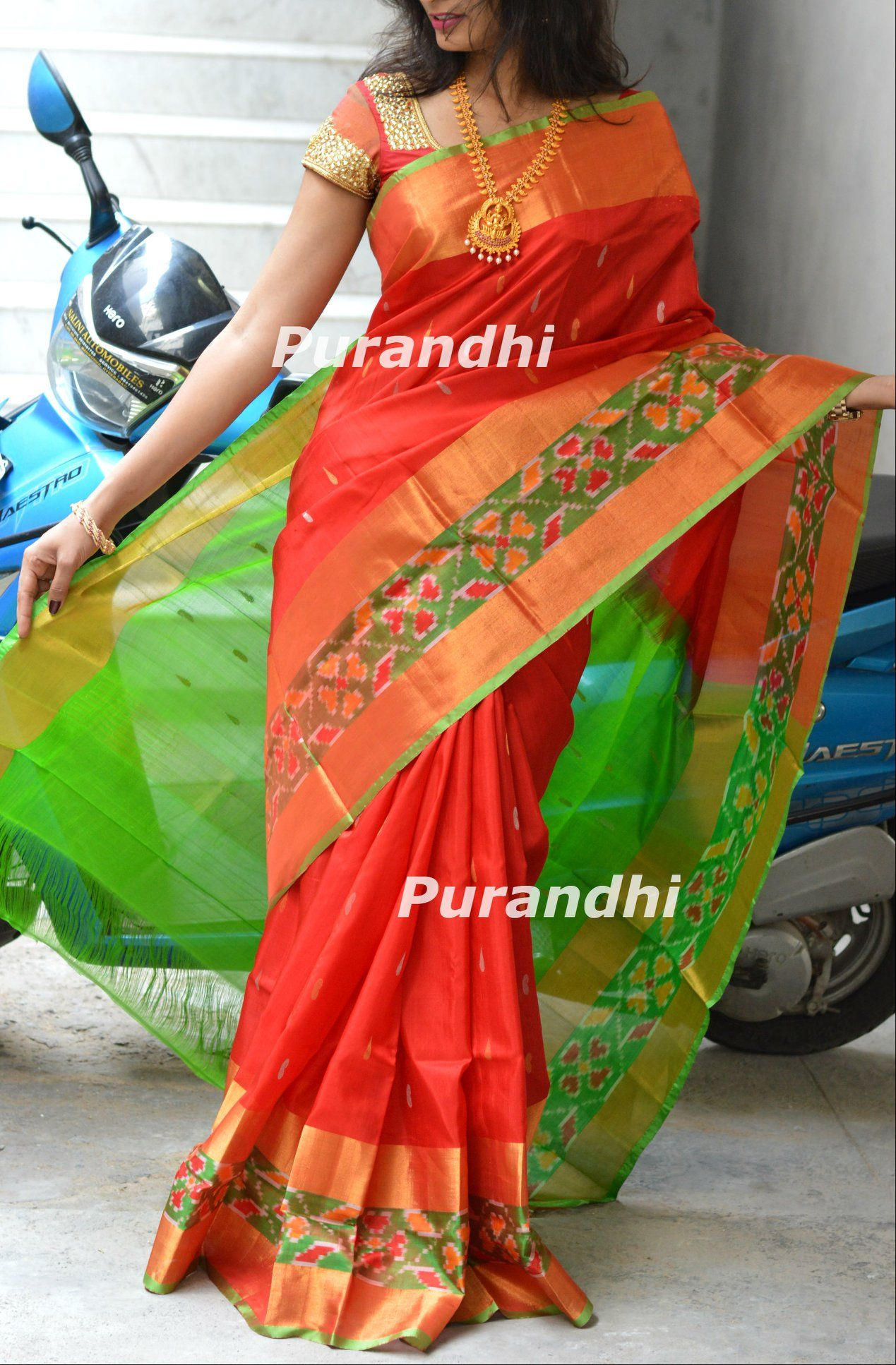 49be79f115a6c4 Red pure handllom pattu saree with weaving buti all over comes with Parrot  green pochampally border.Price   6000 -Same blouse in the image available  with ...