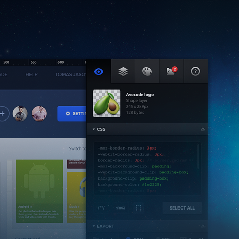 Avocode preview and inspect PSD Get CSS, SVG, image