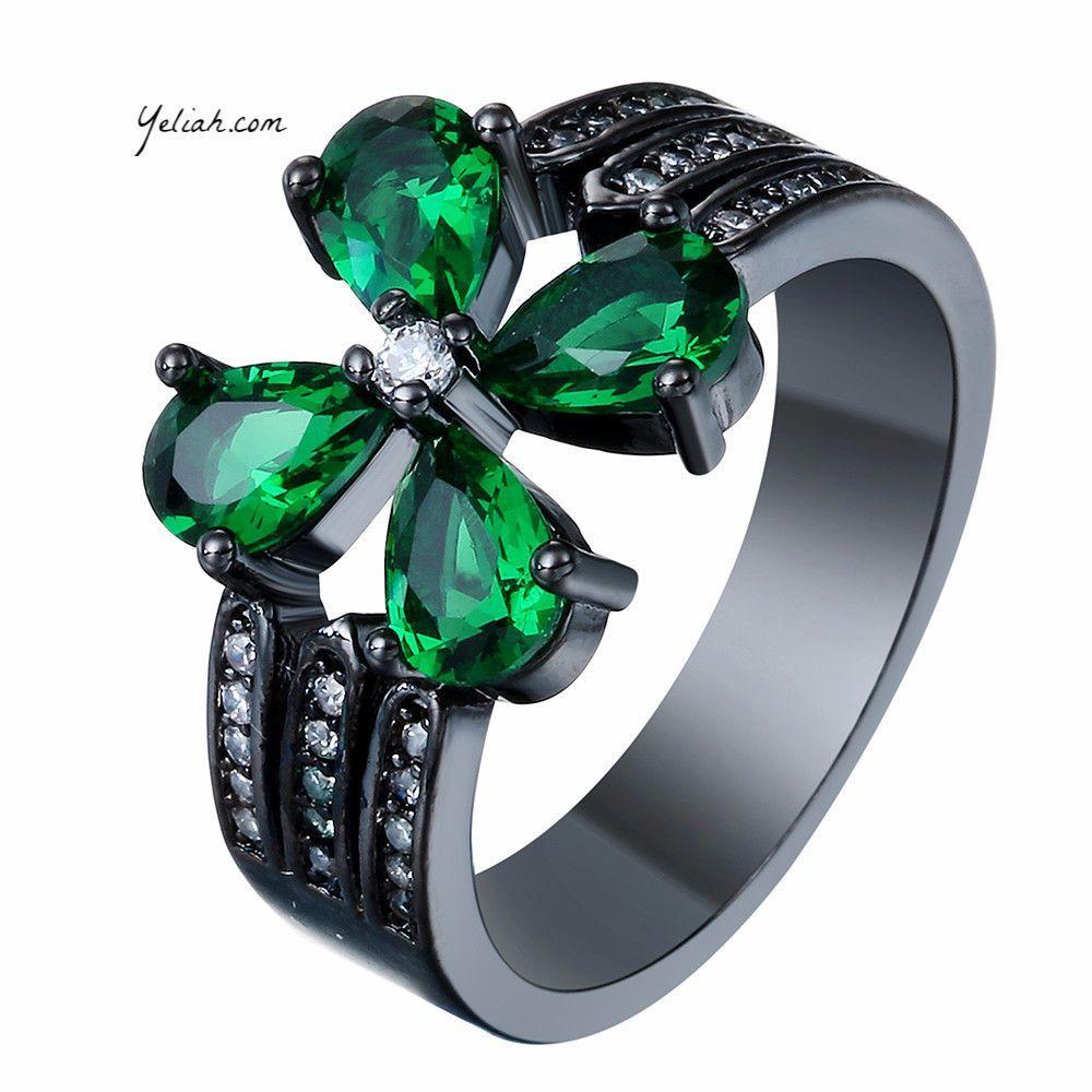 Black Gold Green Four Leaf Clover Sim Emerald CZ Ring
