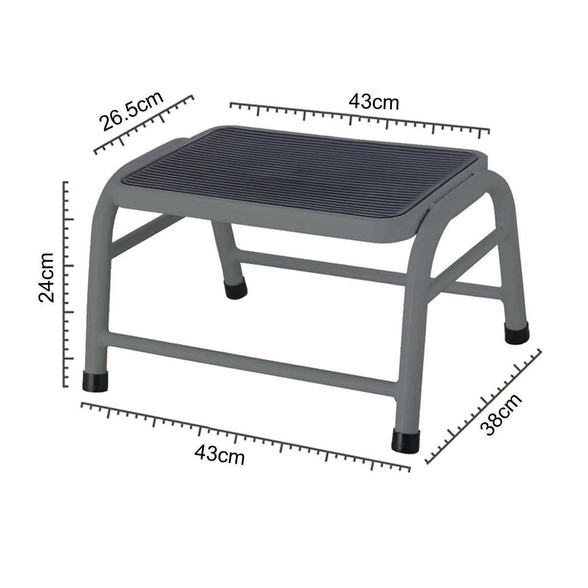Grey) - One Step Stool Anti Slip Rubber Mat Metal Legs Safe Stand ...