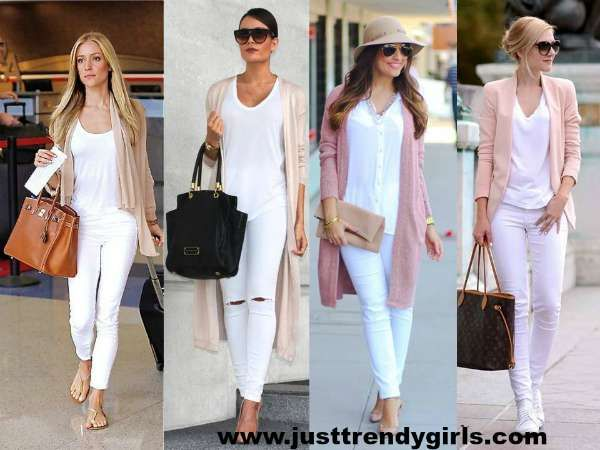 how to wear white pants with long cardigan, White pants styling ...
