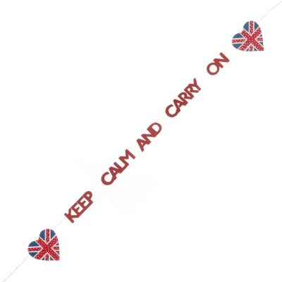 Keep Calm And Carry On Wooden Garland | PastTimes.com | #British #Street #Party