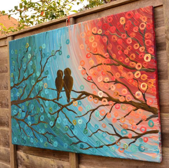 Love Birds in a Tree Painting  Teal Turquoise & by louisemead