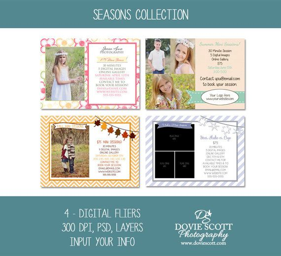 seasons collection includes 4 5x7 digital photography marketing fliers for spring summer fall
