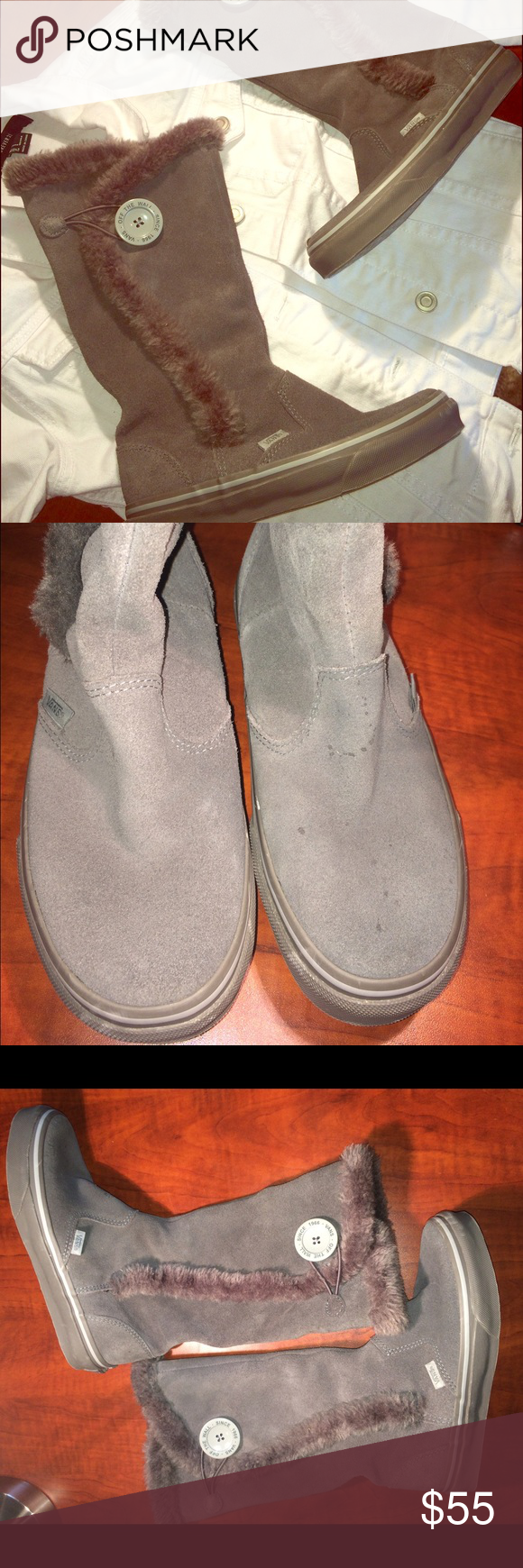 6c2158d0681442 RARE Gray Suede Vans Faux Fur Lined Boots Hard to find Vans boots lined  with faux