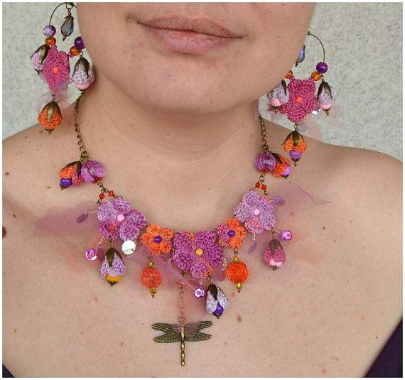 crochet necklaceboho dragonfly necklacecrochet por Marmotescu